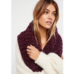 Free People Wine Knit Chenille Love Bug Cowl Scarf